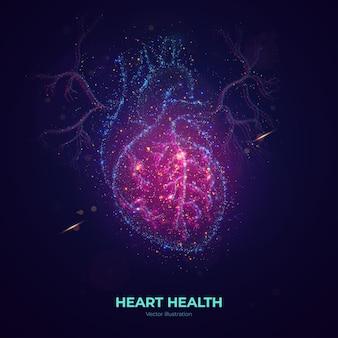 ネオン粒子で作られた輝く人間の心臓のベクトル図。モダンな抽象的なスタイルの明るい魔法の心臓の健康のコンセプトアートは、カラフルなドットで構成されています。