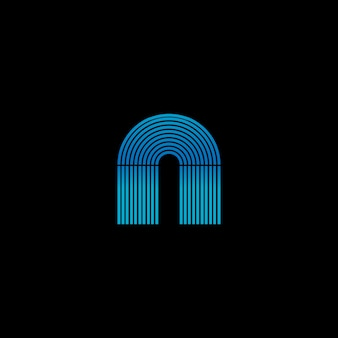 Glowing jukebox box neon stripe forming the letter a. logo template