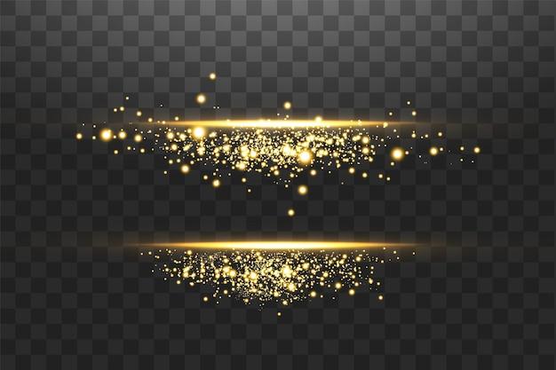 輝くレンズフレア、スパーク、ライン。