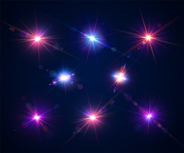 Glowing lens flares. set of beautiful glare effects with bokeh and particles
