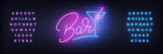 Glowing lettering bar and cocktail glass