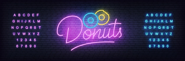Glowing lettering donuts cafe
