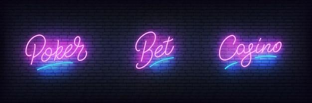 Glowing lettering poker, bet, casino