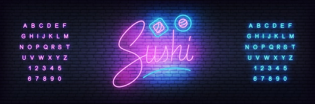 Glowing lettering sushi and rolls