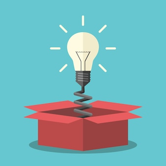 Glowing light bulb on spring appearing from red box. creativity, innovation and aha moment concept. flat design. eps 8 vector illustration, no transparency