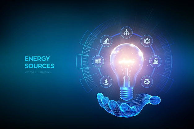 Glowing light bulb with energy resources icons in hand. electricity and energy saving concept. energy sources.