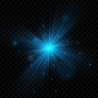 輝く光のバースト爆発。光線の輝きで装飾。輝く星