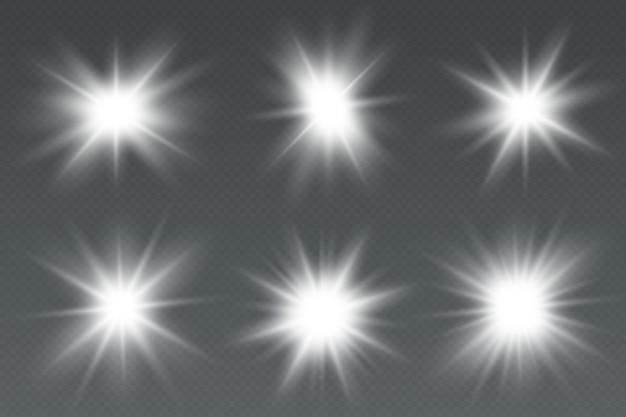輝く光の効果の星が輝きで爆発します