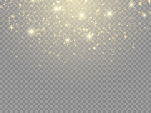Glowing light effect with glitter particles isolated