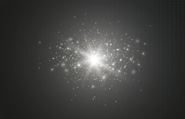 透明な背景に分離された多くのキラキラ粒子と輝く光の効果ベクトルスタークロ