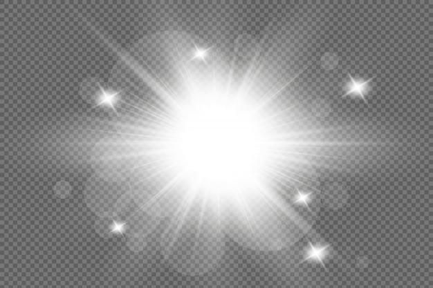 많은 반짝이 입자 격리와 빛나는 조명 효과.