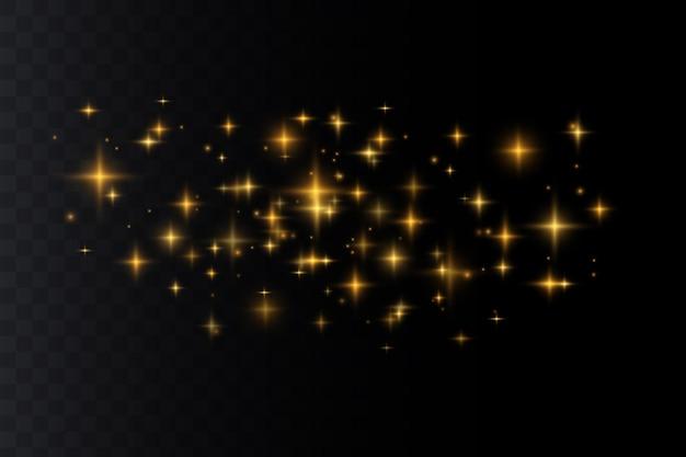 많은 반짝이 입자로 빛나는 조명 효과