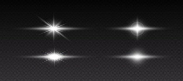 Glowing light effects. sparkling and shining stars, bright flashes of lights with radiating. transparent light effects isolated on black background. vector illustration