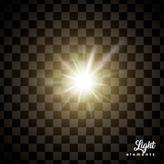 輝く光の効果、使用のための透明な背景への特殊効果