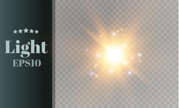 Glowing light explodes. bright star. transparent shining sun, bright flash.