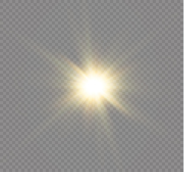 Светящийся свет взрывается. яркая звезда. прозрачное сияющее солнце, яркая вспышка.