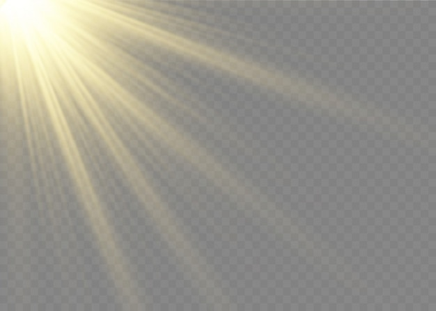 투명한 배경에서 빛나는 빛이 폭발합니다. 밝은 별. 투명한 빛나는 태양.