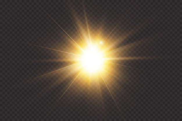 빛나는 빛이 투명한 배경에서 폭발합니다. 투명한 빛나는 태양, 밝은 플래시.