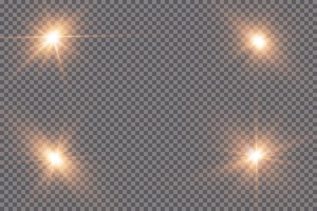 Светящийся свет взрывается на прозрачном фоне. с лучом. прозрачное яркое солнце, яркая вспышка. центр яркой вспышки.
