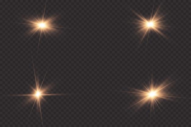 Светящийся свет взрывается на прозрачном