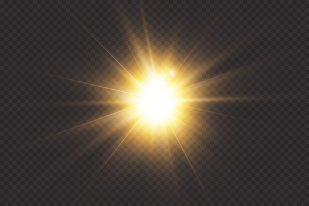 Glowing light explodes on a transparent background. transparent shining sun, bright flash.