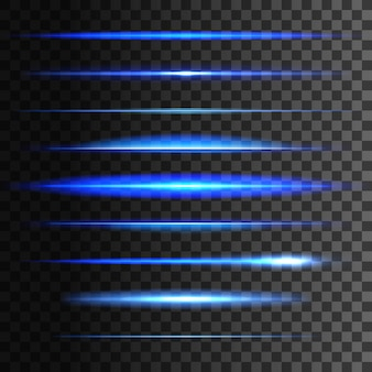輝く光のライン、光の光の線形効果のセット。透明な背景に青いネオンライトフラッシュストライプと輝く光線のトレース