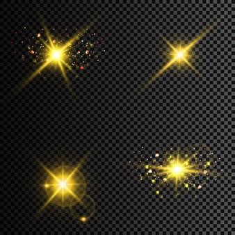 Светящиеся светлые звезды с блестками. световой эффект.
