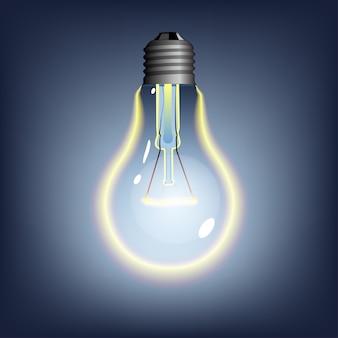 Светящаяся лампочка на темном фоне