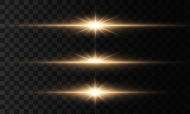輝く光と星。明るい星、きらめく透明な輝く太陽