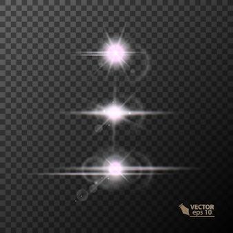 빛나는 조명과 별 격리됨에 검은 색 투명 배경