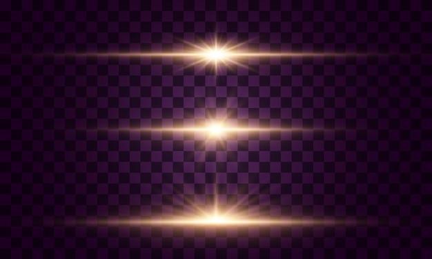 輝く光と星。透明な背景で隔離。光のセットが爆発します。きらめく魔法のほこりの粒子。明るい星、きらめく透明な輝く太陽、フラッシュライト効果
