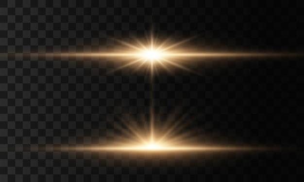 빛나는 조명과 별. 투명 배경에 고립. 빛의 세트가 폭발합니다. 반짝이는 마법의 먼지 입자. 밝은 별, 반짝임 투명 빛나는 태양, 플래시 조명 효과