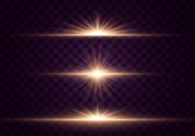 輝く光と星。透明な背景に分離されました。光のセットが爆発します。きらめく魔法のダスト粒子。明るい星、輝く透明な太陽、フラッシュライト効果