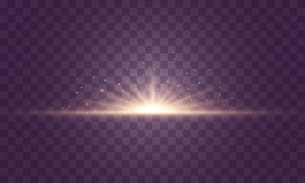 輝く光と星。透明な背景に分離されました。光のセットが爆発します。きらめく魔法のちり粒子。明るい星、輝く透明な太陽、フラッシュライト効果。