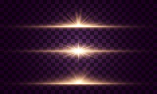 輝く光と星。透明な背景に分離されました。光のセットが爆発します。きらめく魔法のちり粒子。明るい星、きらめく透明な太陽、フラッシュライト効果
