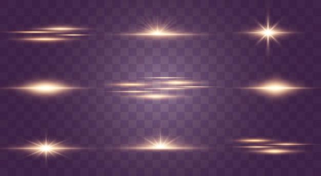 輝く光と星。透明な背景に分離されました。光のセットが爆発します。きらめく魔法のちり粒子。明るい星、輝く透明な太陽、フラッシュライト効果