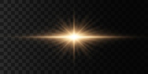 빛나는 조명과 별 격리 투명 배경에