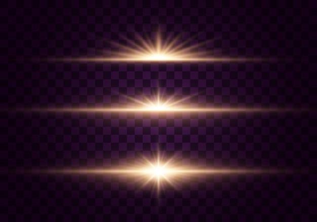 透明な背景に分離された輝く光と星
