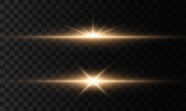 透明な背景に輝く光と星