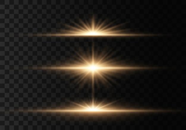 輝く光と星。光のセットが爆発します。きらめく魔法のほこりの粒子。透明な輝く太陽、フラッシュライト効果