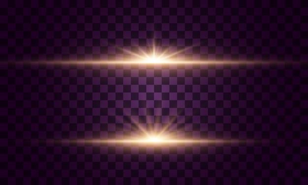 輝く光と星。光のセットが爆発します。きらめく魔法のダスト粒子。