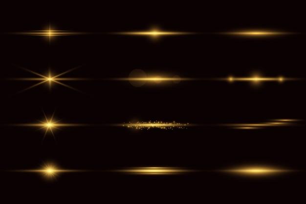 輝く光と星。