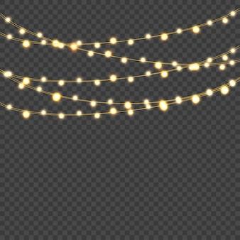 Glowing lights. decorative realistic garlands. vector.