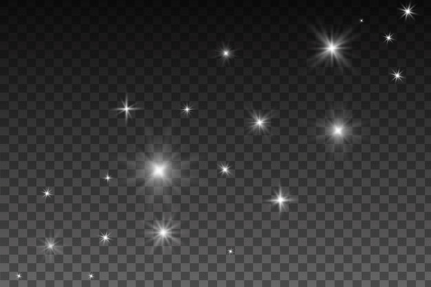 Светящийся эффект света, вспышки, взрыва и звезд. специальный эффект, изолированные на прозрачном фоне. объектив блики, звезды и блестки с коллекцией боке.