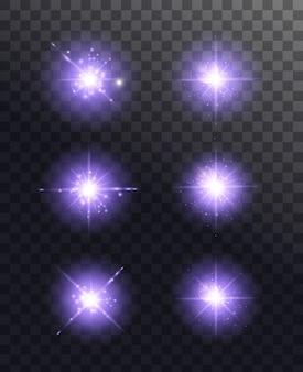 빛나는 조명 효과. 반짝 스타 버스트. 투명 배경에 고립 된 특수 효과입니다. 투명한 빛나는 태양, 밝은 플래시