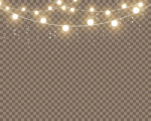 透明な背景に分離された白熱灯の効果。グローライト効果。図。白い火花と金色の星が特別な光の効果を輝きます。