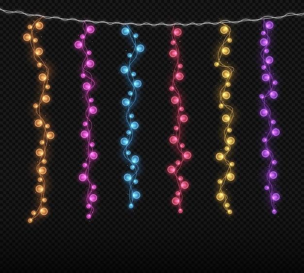 크리스마스 크리스마스 카드를 위한 빛나는 조명 다채로운 크리스마스 화환의 문자열