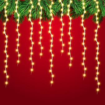 Светящиеся огни для рождественского праздника. гирлянды, елочные игрушки.