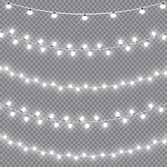 Светящиеся огни. гирлянды украшения световые эффекты. Premium векторы