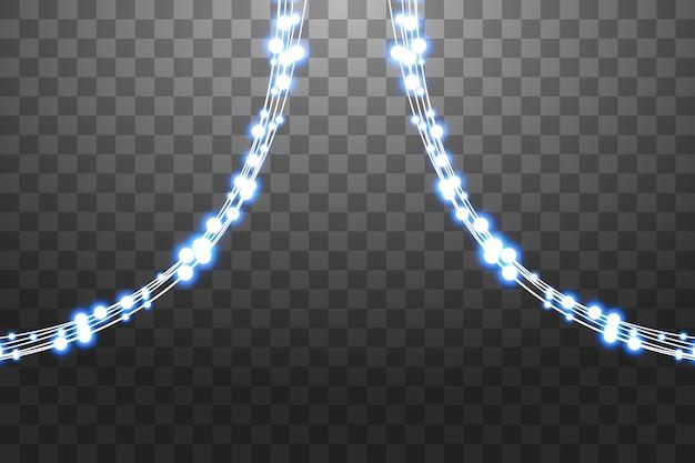 透明な背景に分離された光るライト